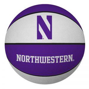 "Northwestern University Wildcats 7"" Rubber Mini Basketball With N-Cat Design"