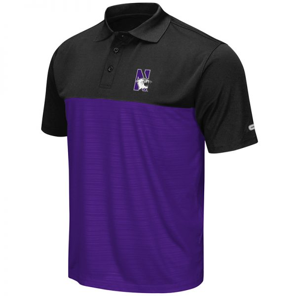 Northwestern University Wildcats Colosseum Mens Purple/Black In The Vault Polo Shirt with N-Cat Design