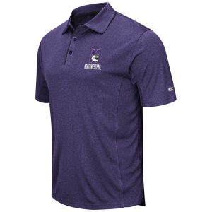 Northwestern University Wildcats Colosseum Mens Heather Purple Maestro Polo Shirt with N-Cat Design