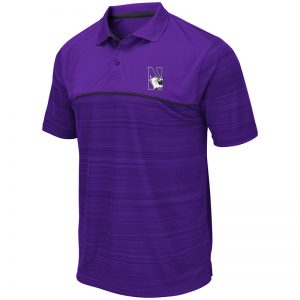 Northwestern University Wildcats Colosseum Mens Purple Levuka Polo with N-Cat Design