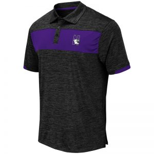 Northwestern University Wildcats Colosseum Mens Black/Purple Pop Color Nelson Polo with N-Cat Design