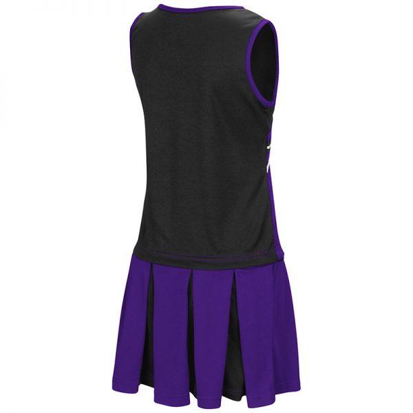 Northwestern University Wildcats Colosseum Girls Purple / Black Curling Cheer Set with N-Cat Design-Back