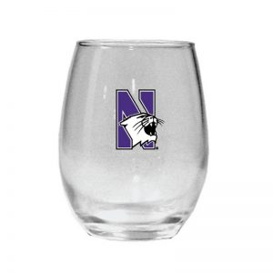 Northwestern Wildcats 15 oz. Stemless Wine Glass with N-Cat Design