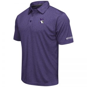 Northwestern University Wildcats Colosseum Mens Heather Purple Axis S/S Polo Shirt with N-Cat Design
