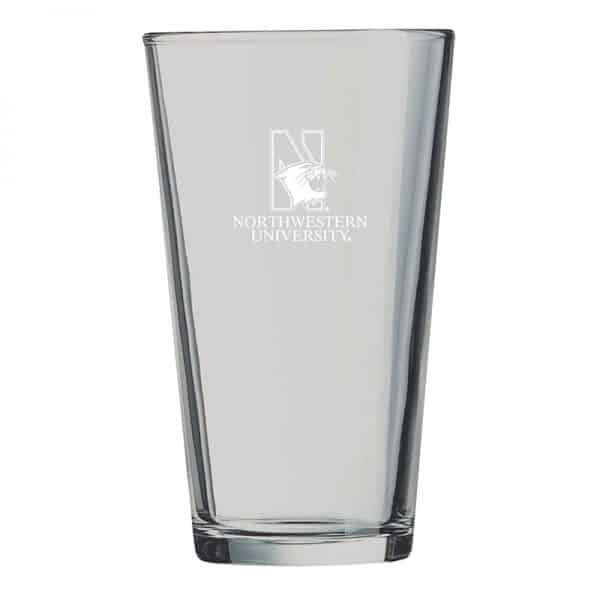 Northwestern University Wildcats 16 oz. Laser Engraved Pint Glass With N-Cat Design