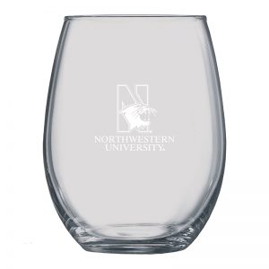 Northwestern University Wildcats 21 oz. Laser Engraved Boulder Stemless Wine Glass With N-Cat Design