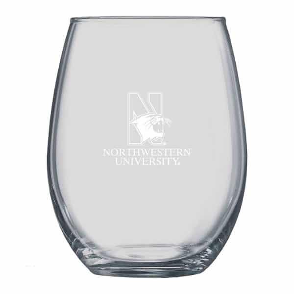 Northwestern University Wildcats 21 oz. Laser Engraved Boulder Stemless Wine Glass With N-Cat Design