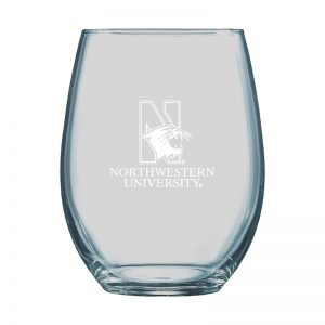 Northwestern University Wildcats 15 oz. Laser Engraved Boulder Stemless Wine Glass With N-Cat Design