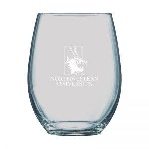 Northwestern University Wildcats 15 oz. Laser Engraved Boulder Stemless Wine Glass With N-Cat Design