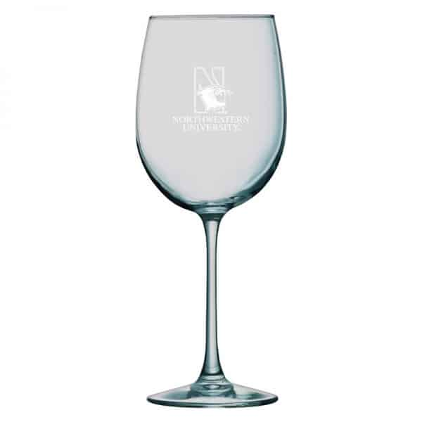 Northwestern University Wildcats 16 oz. Laser Engraved Sanctuary White Wine Glass With N-Cat Design