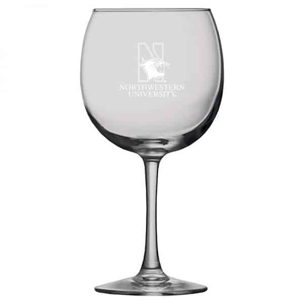 Northwestern University Wildcats 16 oz. Laser Engraved Sanctuary Red Wine Glass With N-Cat Design