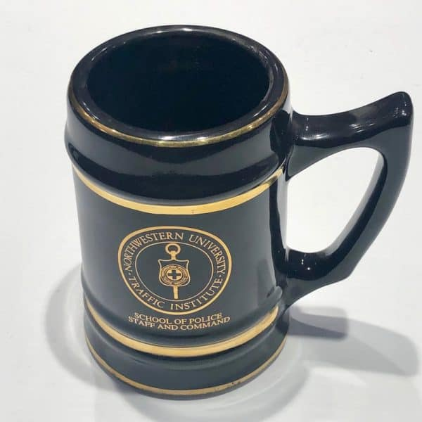 Northwestern Wildcats 32 oz. Black Ceramic Stein with School of Police Staff and Command Design