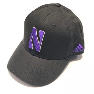 Northwestern University Wildcats Black Constructed VelcroBack Adidas Hat with Stylized N Design