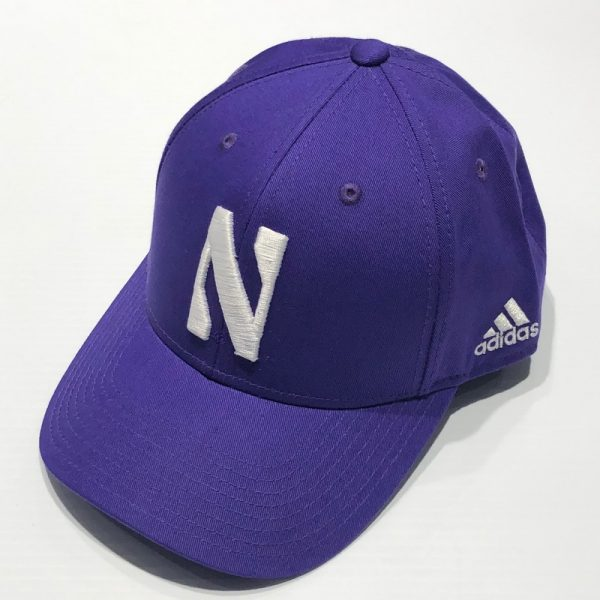 Northwestern University Wildcats Purple Constructed VelcroBack Adidas Hat with Stylized N Design
