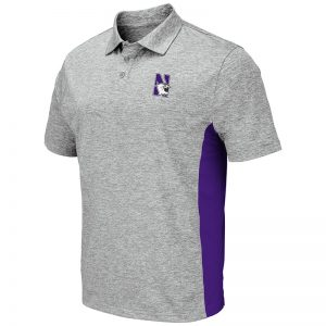 Northwestern University Wildcats Colosseum Mens Heather Grey/Purple S/S Polo with N-Cat Design