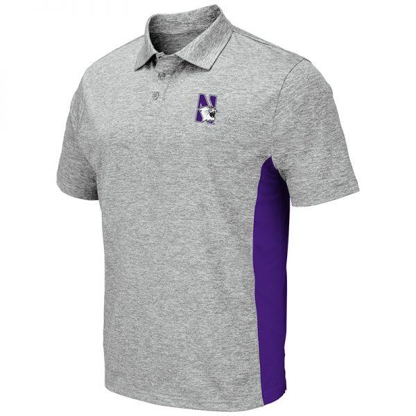 Northwestern University Wildcats Colosseum Mens Heather Grey/Purple S/S Polo with N-Cat Design