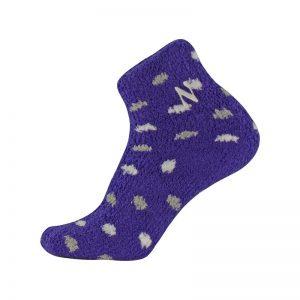 Northwestern University Wildcats Adult Purple Cozy Low Polkadot Crew Socks With Stylized N Design