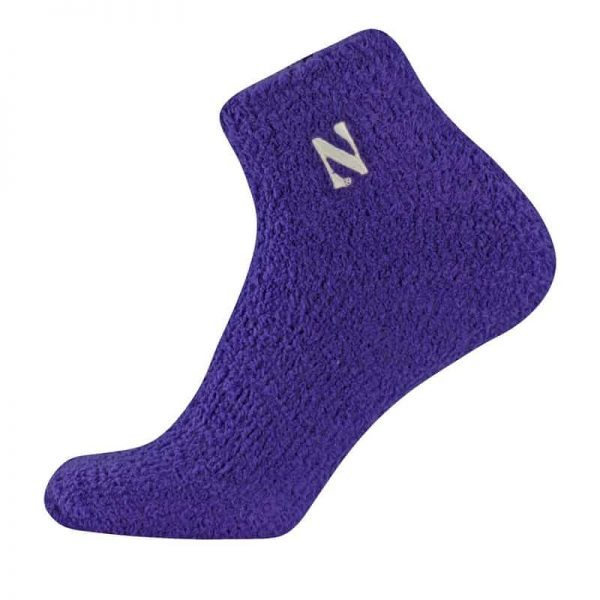 Northwestern University Wildcats Adult Purple Cozy Low Crew Socks With Stylized N Design