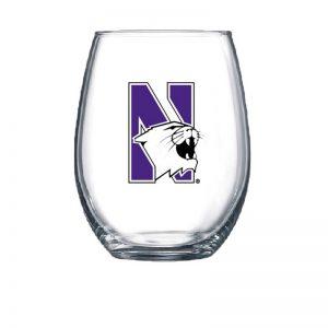 Northwestern University Wildcats 15 oz. Stemless Wine Glass with N-Cat Design-2