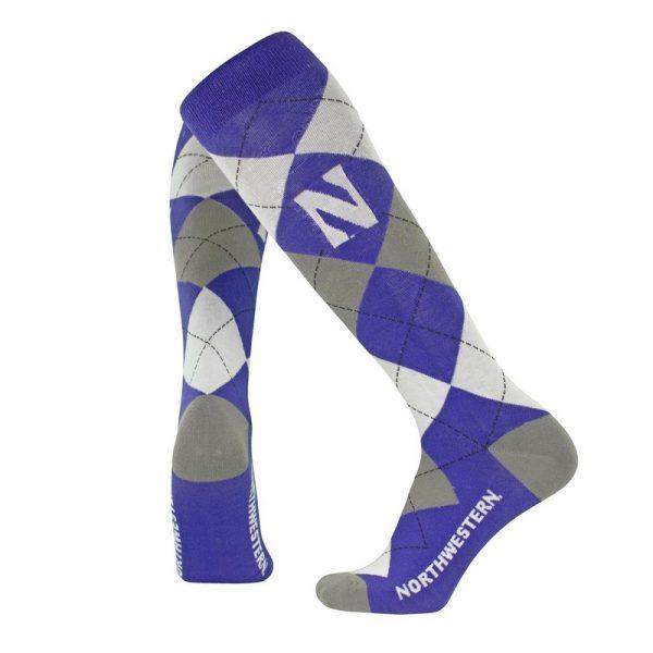 Northwestern University Wildcats Adult Purple/Grey/White Argyle Over-Calf Dress Socks With Stylized N Design