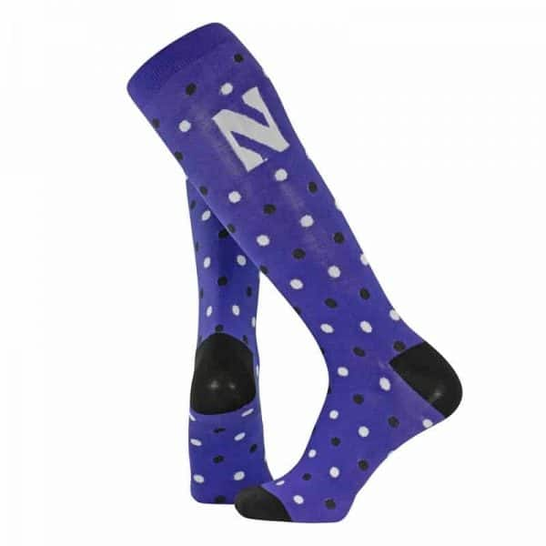 Northwestern University Wildcats Adult Black/White Dot Pattern Over-Calf Purple Dress Socks With Stylized N Design