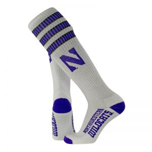 Northwestern University Wildcats Adult White Throwback Over-Calf Socks With Stylized N Design