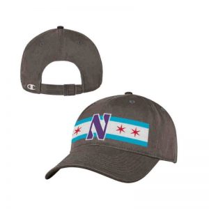 Northwestern University Wildcats Legacy Unconstructed Adjustable Dark Grey Hat with Chicago Flag & Stylized N Design