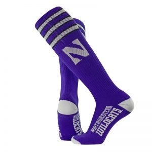 Northwestern University Wildcats Adult Purple Throwback Over-Calf Socks With Stylized N Design