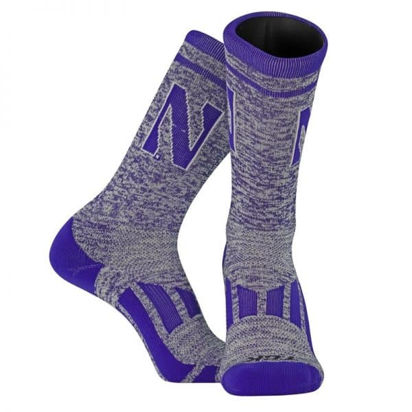 Northwestern University Wildcats Adult Heather Purple Athletic Performance Crew Socks With Stylized N Design