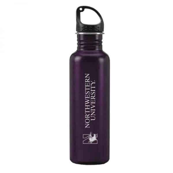 Northwestern University Wildcats 24 oz. Laser Engraved Purple Stainless Steel Water Bottle With N-Cat Design