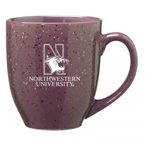 Northwestern University Wildcats 16 oz. Laser Engraved Purple Bistro Speckled Ceramic Mug With N-Cat Design