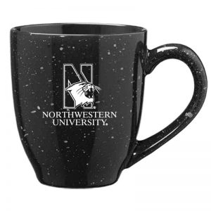 Northwestern University Wildcats 16 oz. Laser Engraved Black Bistro Speckled Ceramic Mug With N-Cat Design