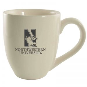 Northwestern University Wildcats 16 oz. Laser Engraved Cream Bistro Ceramic Mug With N-Cat Design