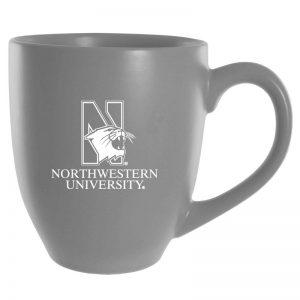 Northwestern University Wildcats 16 oz. Laser Engraved Grey Bistro Ceramic Mug With N-Cat Design