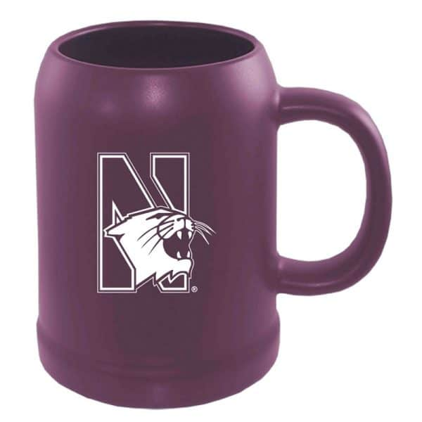 Northwestern University Wildcats 22 oz. Laser Engraved Purple Ceramic Stein With N-Cat Design