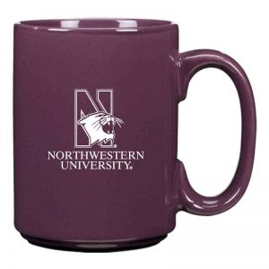 Northwestern University Wildcats 15 oz. Laser Engraved Purple Ceramic Mug With N-Cat Design
