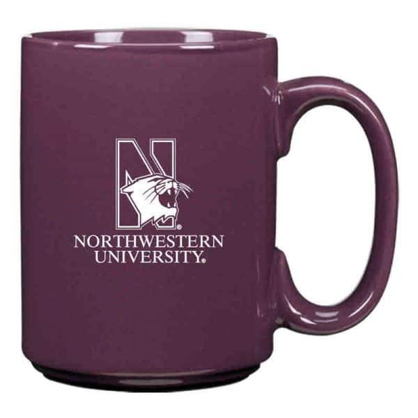 Northwestern University Wildcats 15 oz. Laser Engraved Purple Ceramic Mug With N-Cat Design