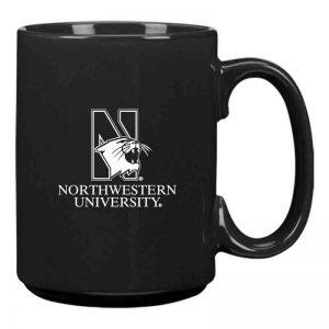 Northwestern University Wildcats 15 oz. Laser Engraved Black Ceramic Mug With N-Cat Design
