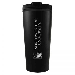 Northwestern University Wildcats 16 oz Laser Engraved Black Insulated Travel Tumbler
