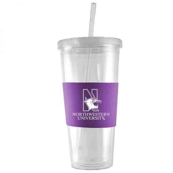 Northwestern University Wildcats 24 oz. Insulated Acrylic Tumbler & Straw With Laser Engraved Purple Silicone Sleeve