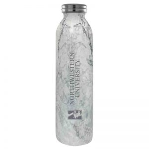 Northwestern University Wildcats 20 oz. Laser Engraved Marble Vacuum Insulated Water Bottle With N-Cat Design
