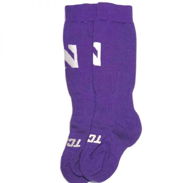 Northwestern University Wildcats Adult Purple Athletic Performance Over-Calf Socks With Stylized N Design