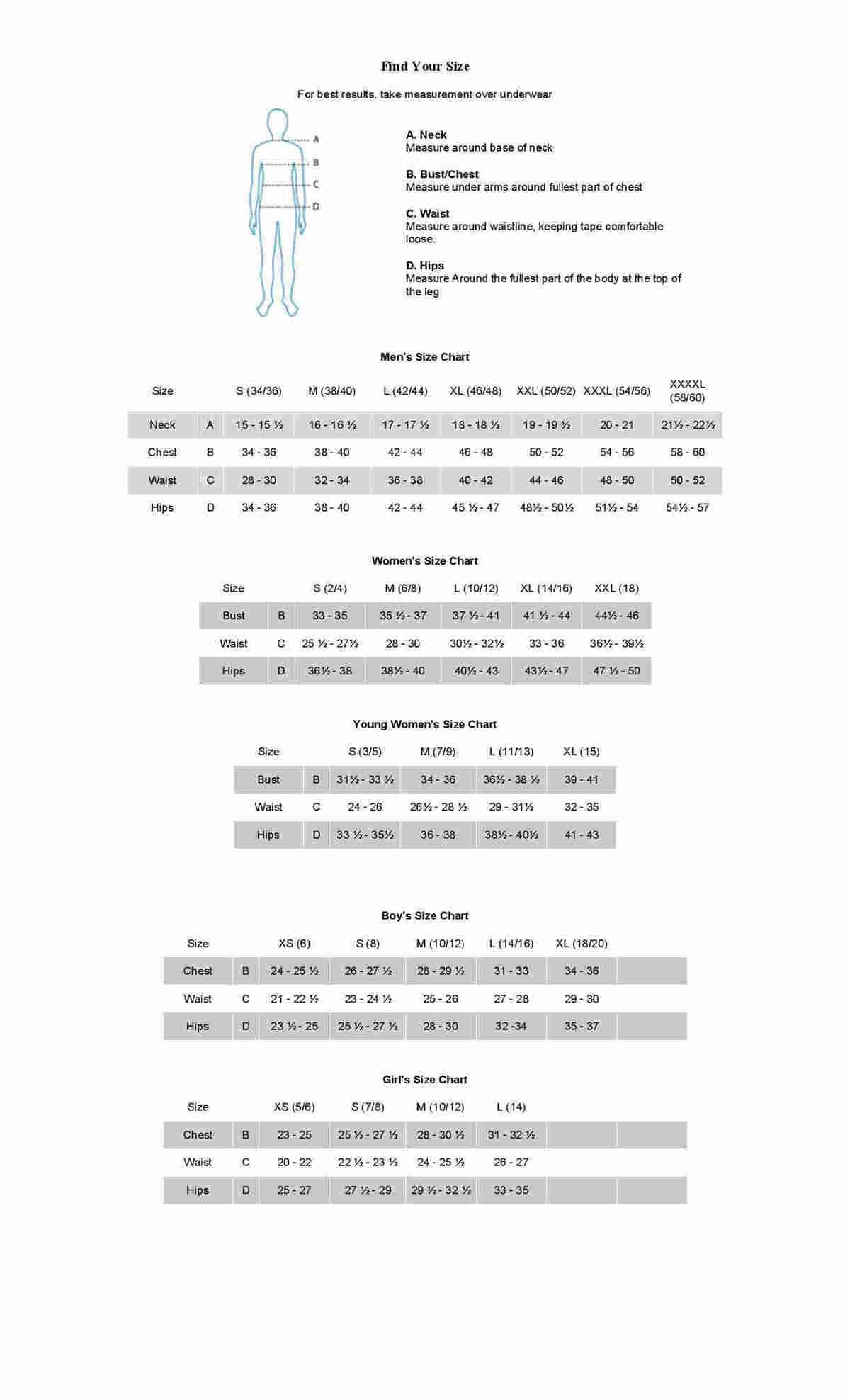 Antigua Sizing Chart