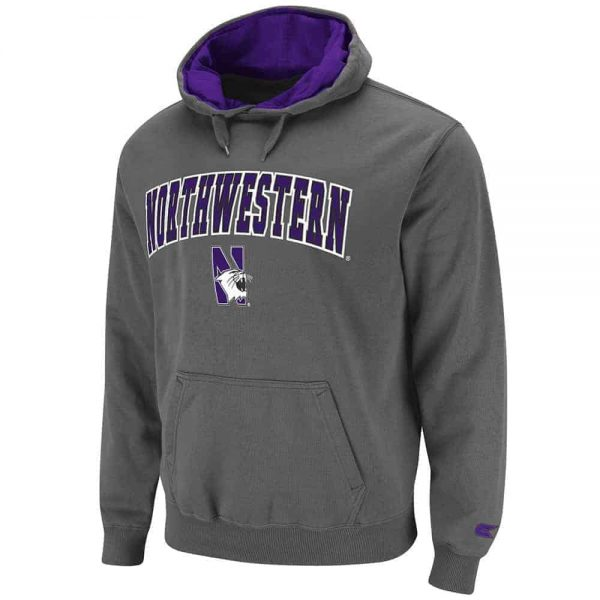 Northwestern Wildcats Colosseum Men's Charcoal Grey Automatic Pullover Hoodie