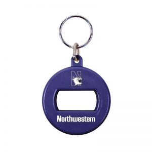 Northwestern University Wildcats Purple Round Opener Key Chain with N-Cat Design
