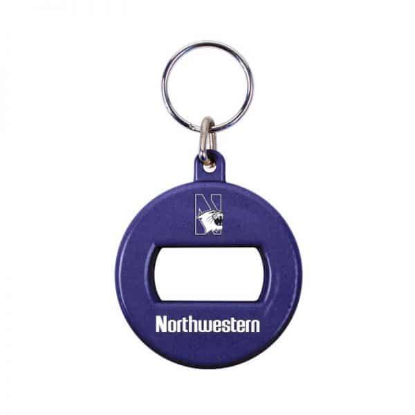 Northwestern University Wildcats Purple Round Opener Key Chain with N-Cat Design