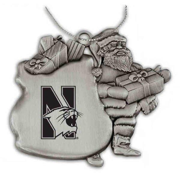 Northwestern University Wildcats Pewter Santa Ornament with N-Cat Design