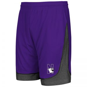 Northwestern University Wildcats Colosseum Men's Purple / Heather Charcoal Commando Short with N-Cat Design