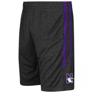 Northwestern University Wildcats Colosseum men's Heather Black Sidler Short with N-Cat Design
