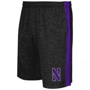 Northwestern University Wildcats Men's Colosseum Black / Purple Festivus Short with Stylized N Design
